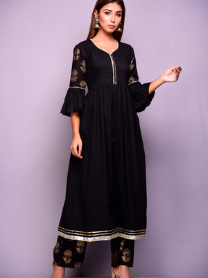 33d8d90f92e READY TO SHIP Black and Gold Kurta and Pant Set