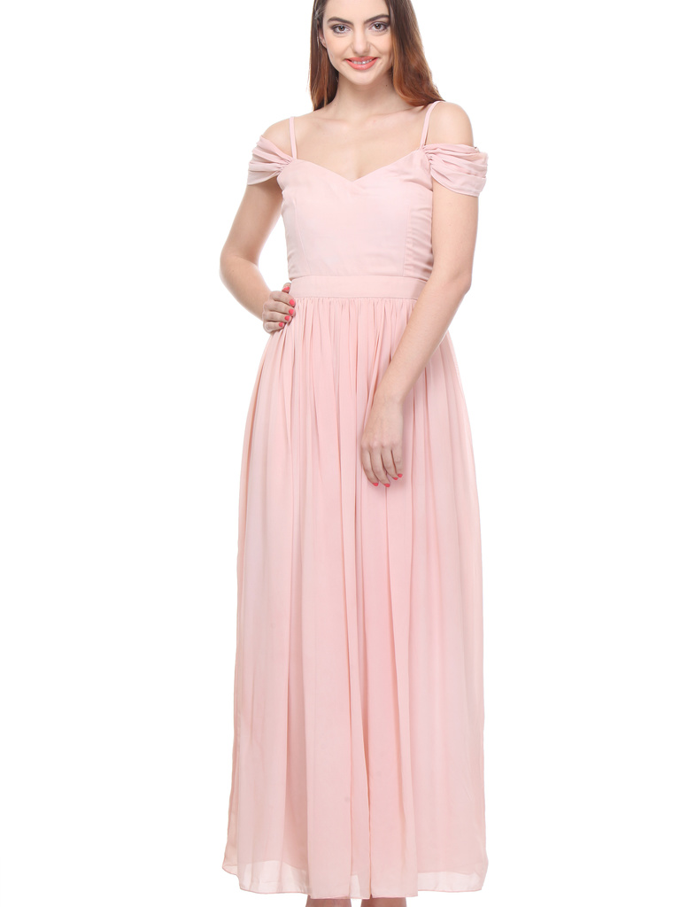 Baby Pink Gown With Flare Sleeves ... f900f0f86
