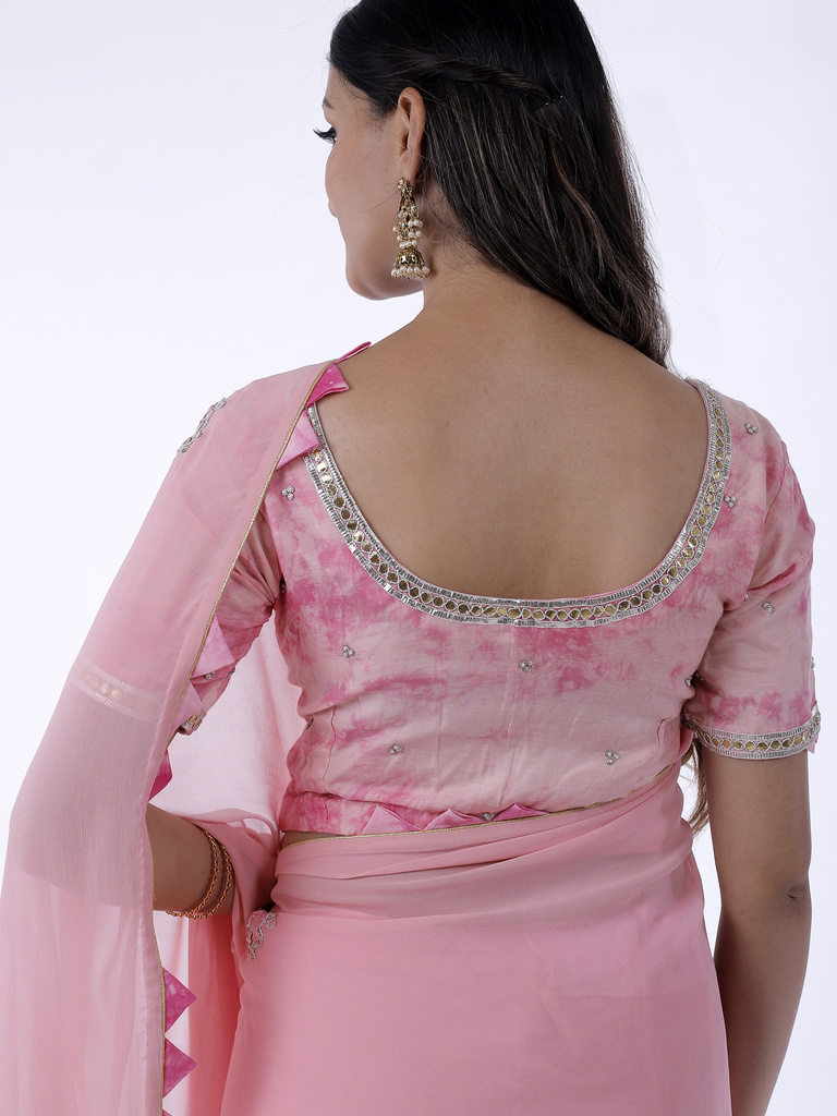 335945f17934c4 Light Pink Gota Patti Saree with Shibori Unstitched Blouse | Ethnic ...