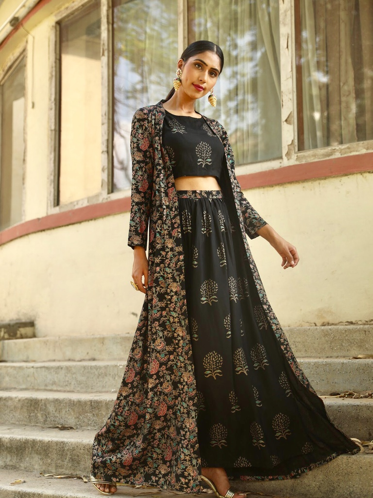 6e8191a546a5 Black Kalamkari Jacket with Crop Top and Skirt | Lehenga Cholis ...