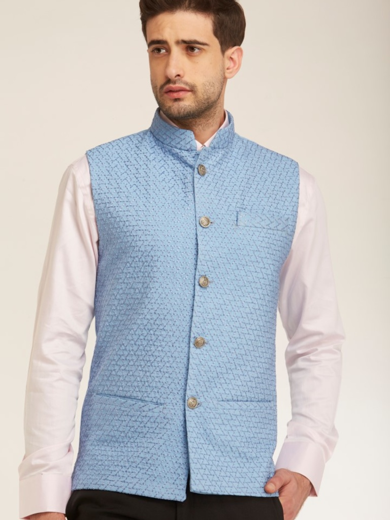Blue Full Embroidered Tailored Fit Nehru Jacket | Menswear | Bandis ...