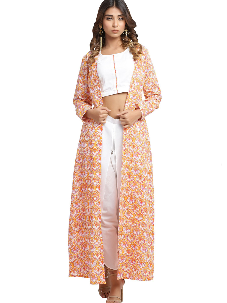 9d333272a63c White Crop Top and Dhoti Pants with Block Printed Jacket ...