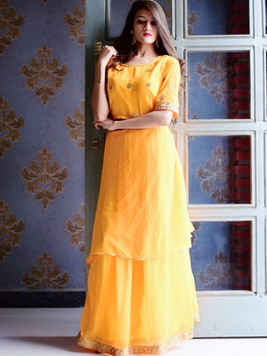 e945d6fe2c0190 Flared Yellow Dress with Gota Work