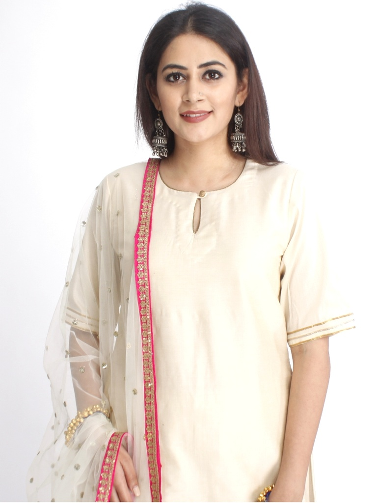 9b919be7f Off-White Kurta and Pants with Sequins Dupatta | Salwar Suits & Sets ...