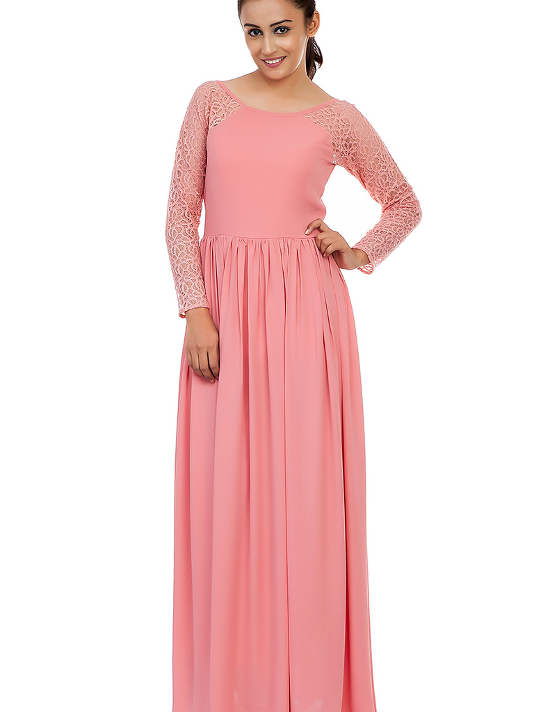 Pink Gown With Lace Sleeves ... 6934f0f81