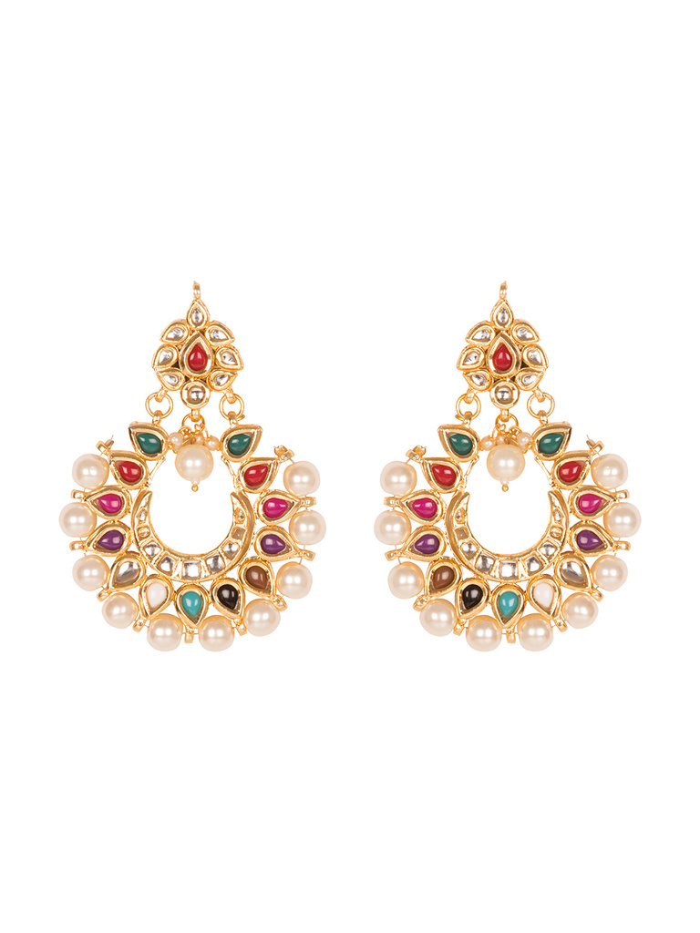 modern beautiful with index necklace artificial design combination ethnic earrings and stone work feroza in white golden