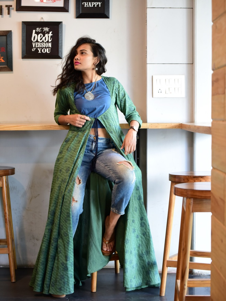 f2e00cc22d7ee ... Green Block Printed Cape with Crop Top