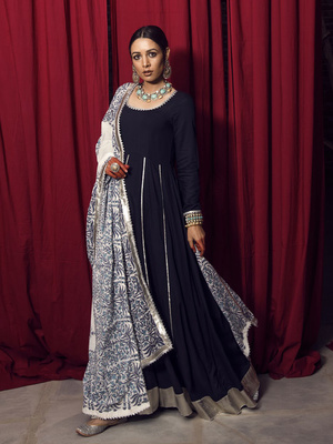 bc55ee6c874 Navy Blue Gota Anarkali Set with Block Printed Dupatta