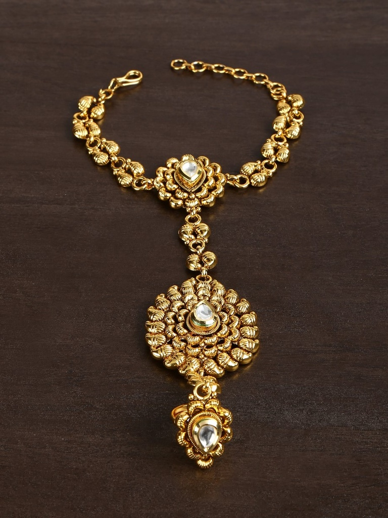 22 Carat Gold Plated Hathful in Dull Finish with Kundan Setting ...
