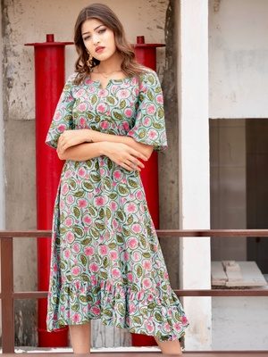 f240a918057 Floral Printed Aqua Frill Maxi Dress ...