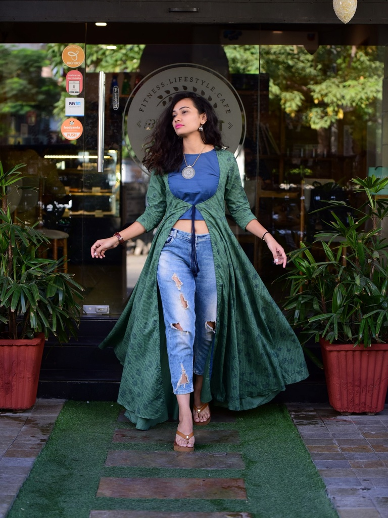 e21419a2a0600 Green Block Printed Cape with Crop Top ...